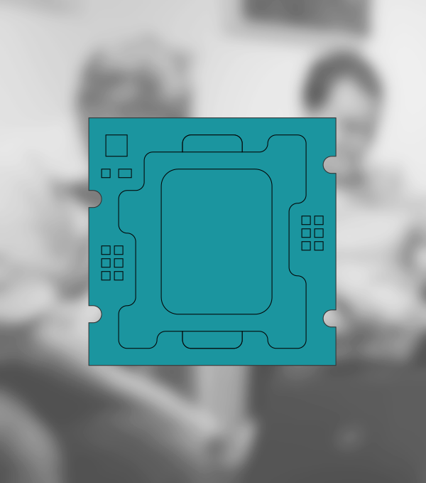 A pictogram of a circuit board in front of a blurred picture showing two employees in a conversation.