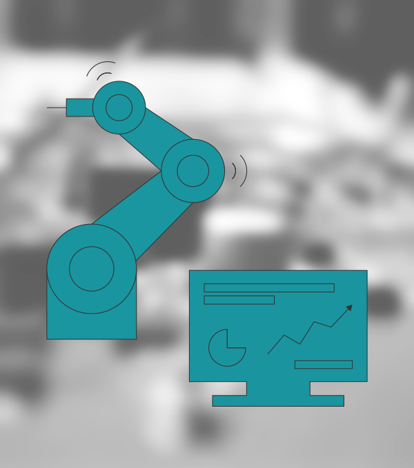Pictogram of a moving robot arm and a monitor, which represents a safety monitoring system, in front of a blurred image showing electronic components.